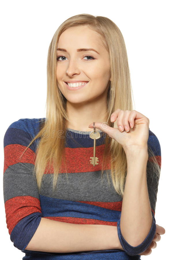Download Woman with house key stock image. Image of closeup, confident - 24160947