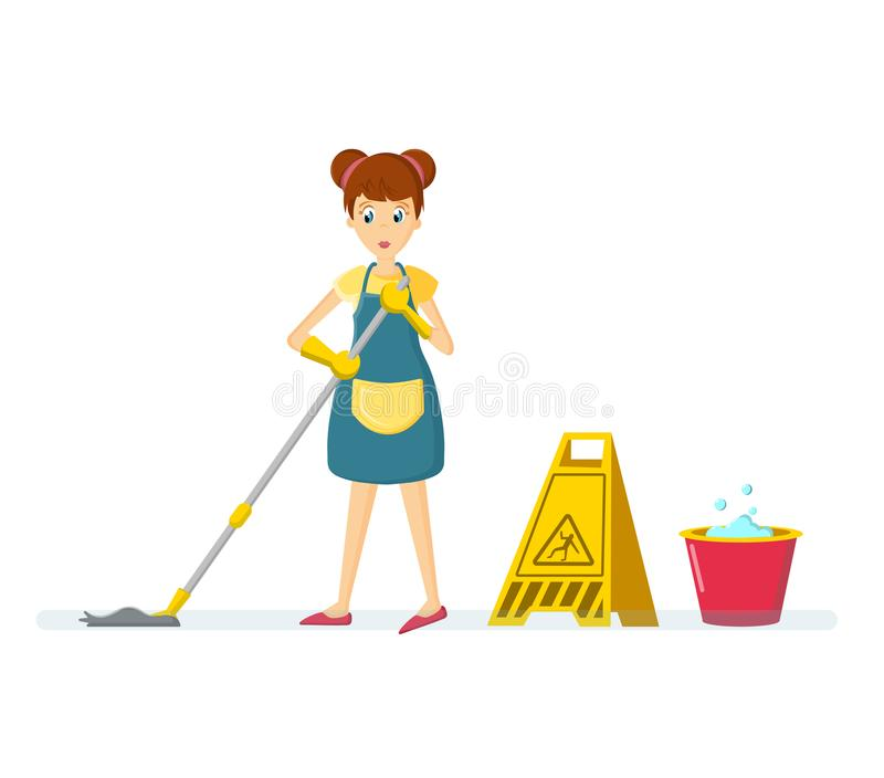 Woman housewife characters. Woman housewife washes floor, in room. Cartoon character woman. Homemaker, housewife engaged of housework. Affairs woman housewife stock illustration