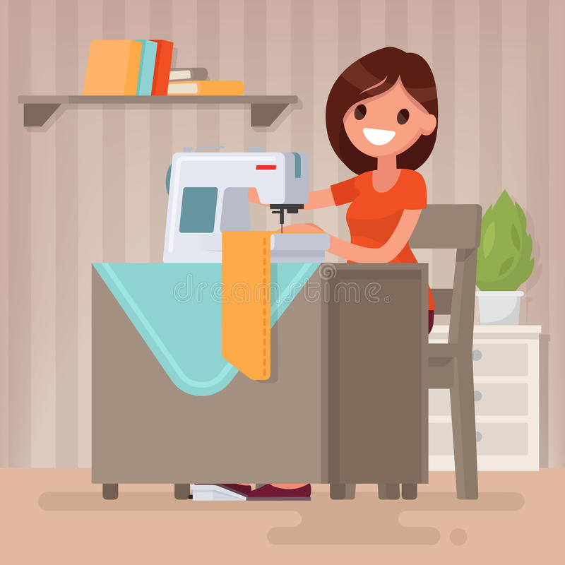 Woman housewife sews on the sewing machine. Vector illustration royalty free illustration