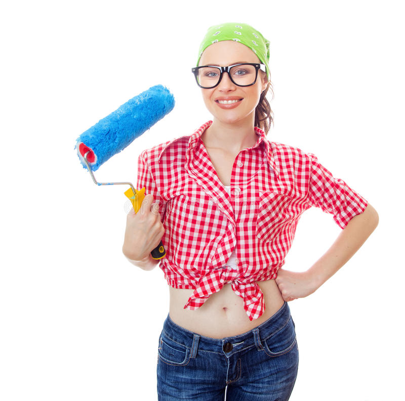 Woman at houseworker royalty free stock photo