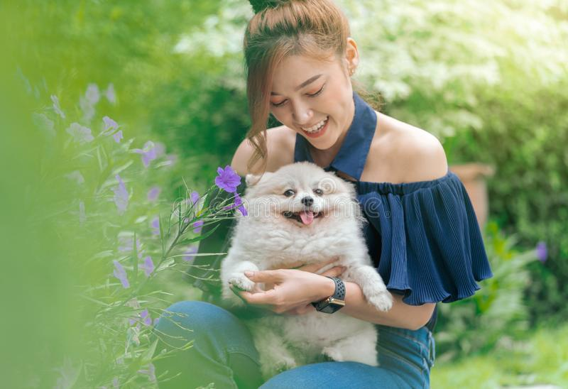 Woman hug with pomeranian dog in garden. Woman hug with pomeranian dog in the garden royalty free stock images