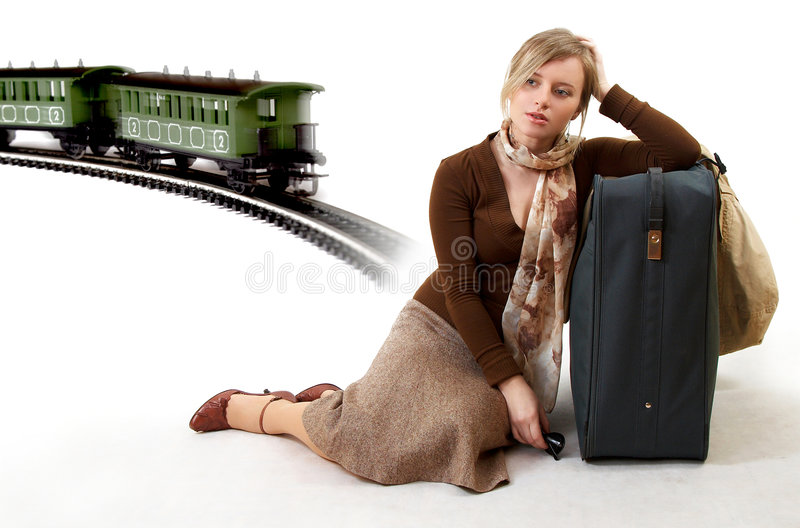 Woman with huge bag royalty free stock photo