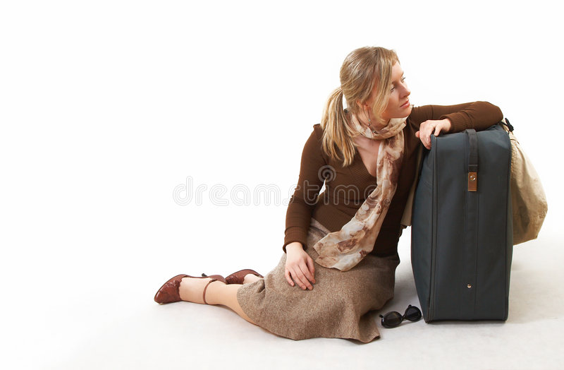 Woman with huge bag royalty free stock photography