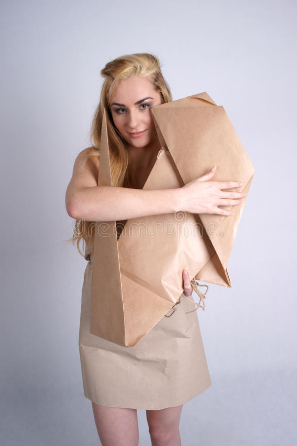 Download Woman hugging eco dog stock photo. Image of paper, recycling - 19968978