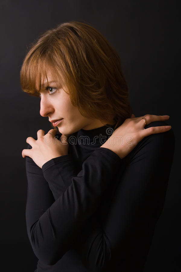 Download Woman Hugging Herself stock photo. Image of background - 12840018