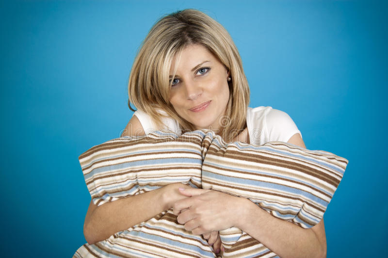 Download Woman hugging pillow stock image. Image of adult, female - 23303799