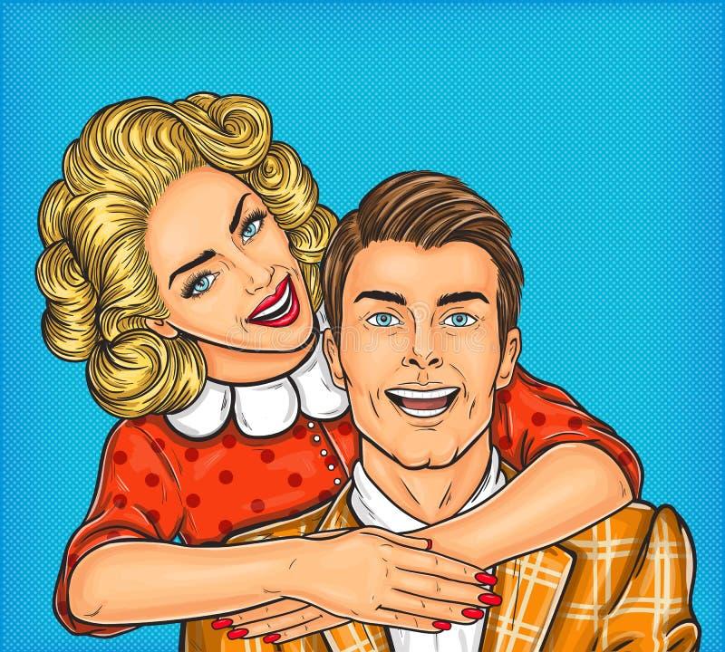 Woman hugs her man. Vector pop art illustration of a young woman hugs her man vector illustration