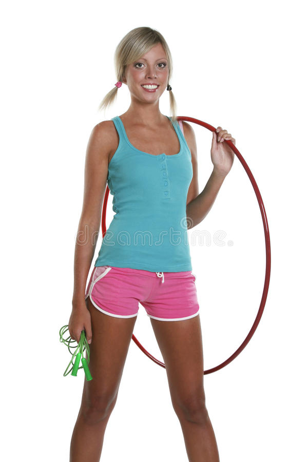 Woman with hula hoop royalty free stock photography