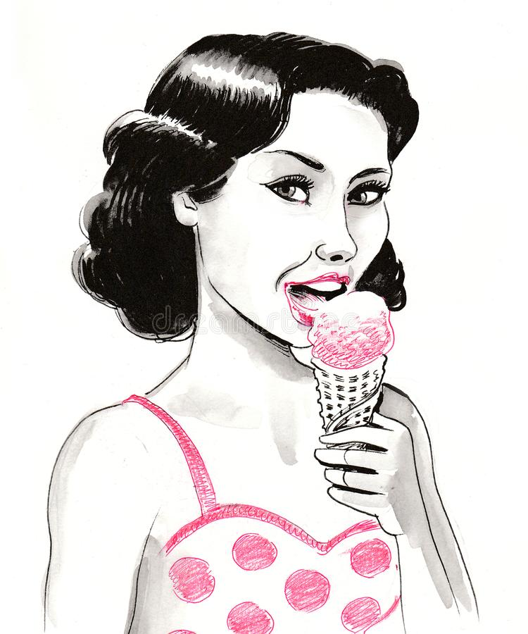 Woman and ice cream royalty free illustration