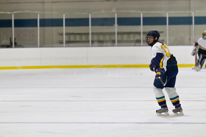 Woman ice hockey player during a game. Female ice hockey player during a game in an arena royalty free stock image