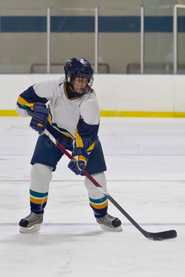 Woman ice hockey player during a game. Female ice hockey player during a game in an arena stock image