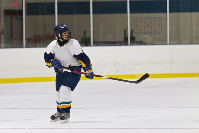Woman ice hockey player during a game. Female ice hockey player during a game in an arena stock photos