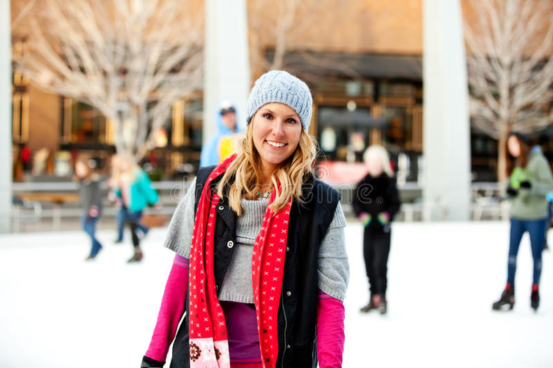 Download A woman at the ice rink stock image. Image of pink, lifestyle - 17553679