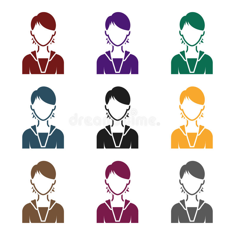 Woman icon in black style isolated on white background. Avatar symbol stock vector illustration. stock illustration