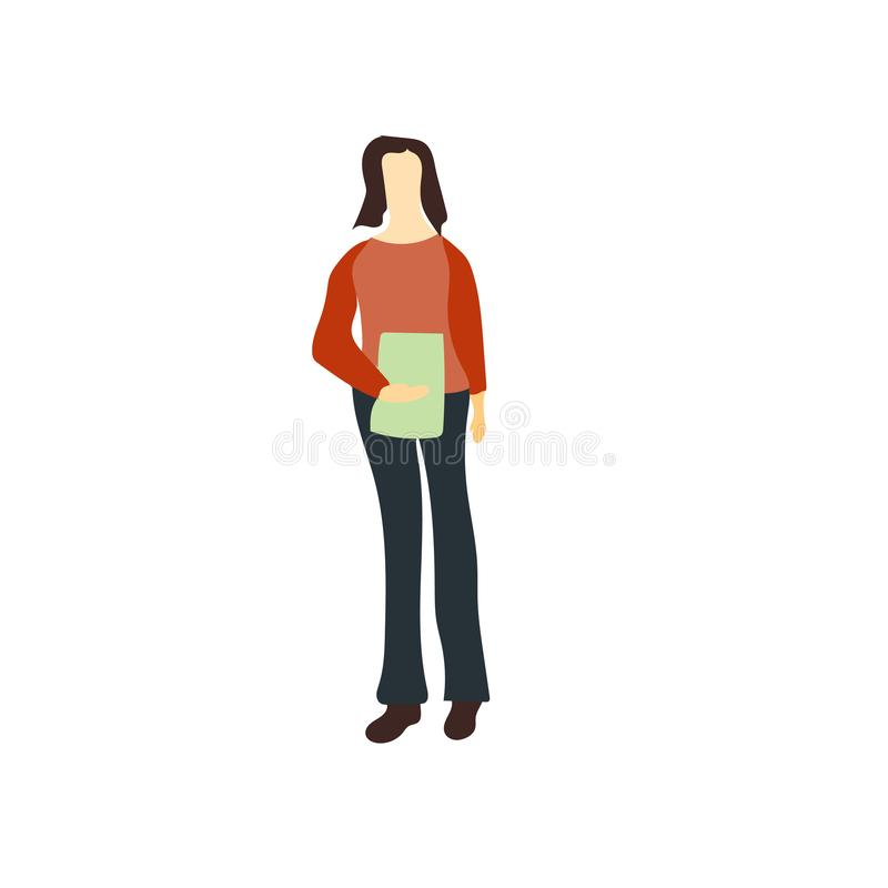 Woman icon vector isolated on white background, Woman sign , standing human or people cartoon character illustration stock illustration