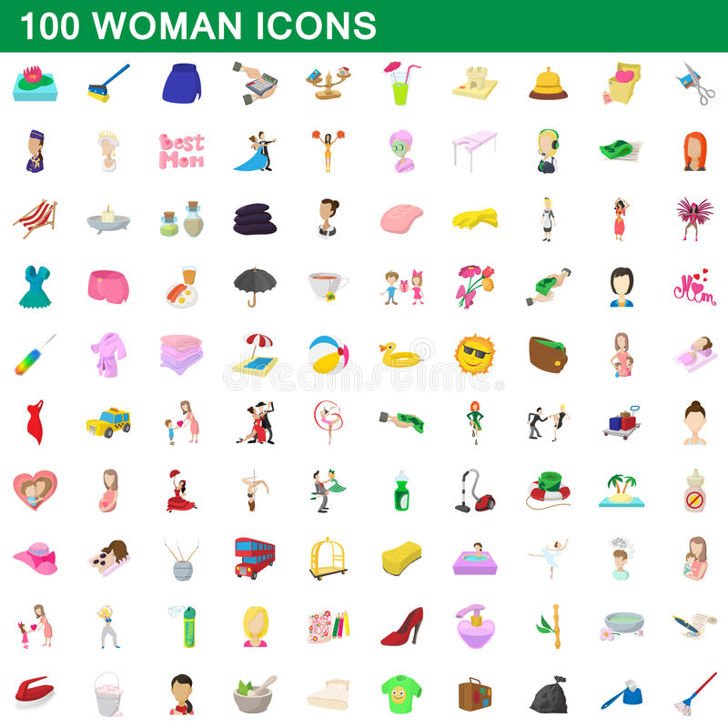 100 woman icons set, cartoon style vector illustration