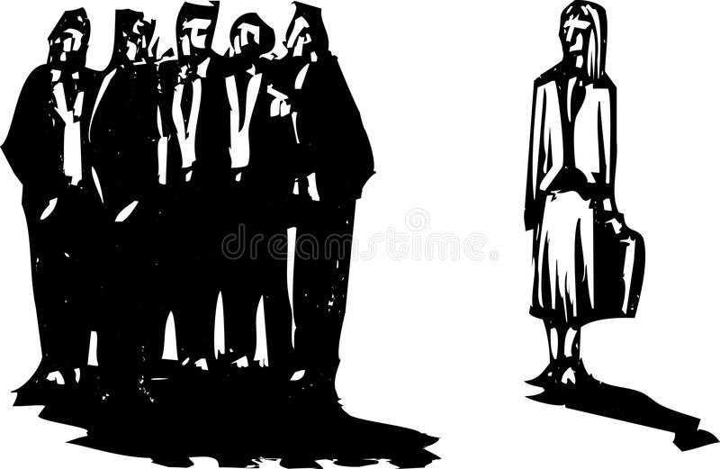 Woman Ignored. Crowd of men in business suits excluding a woman with briefcase stock illustration