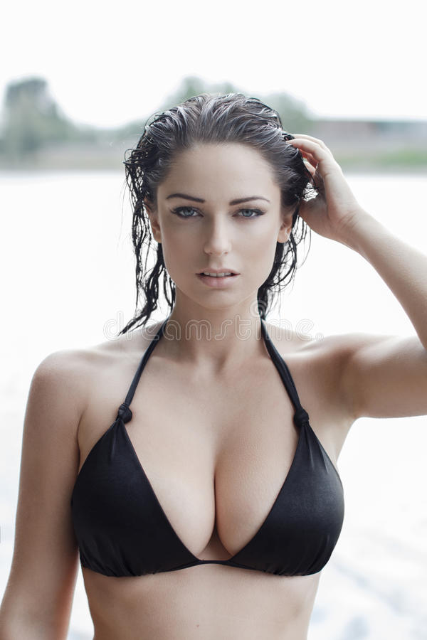 Free Woman In Bikini With Wet Hair And Big Tits Stock Images - 50563744