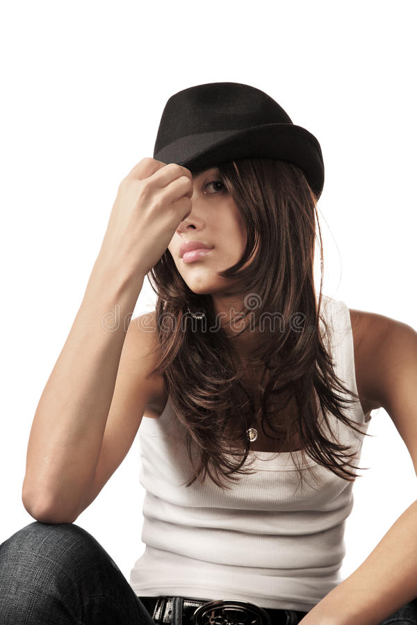 Free Woman In Black Hat Royalty Free Stock Photo - 15834455