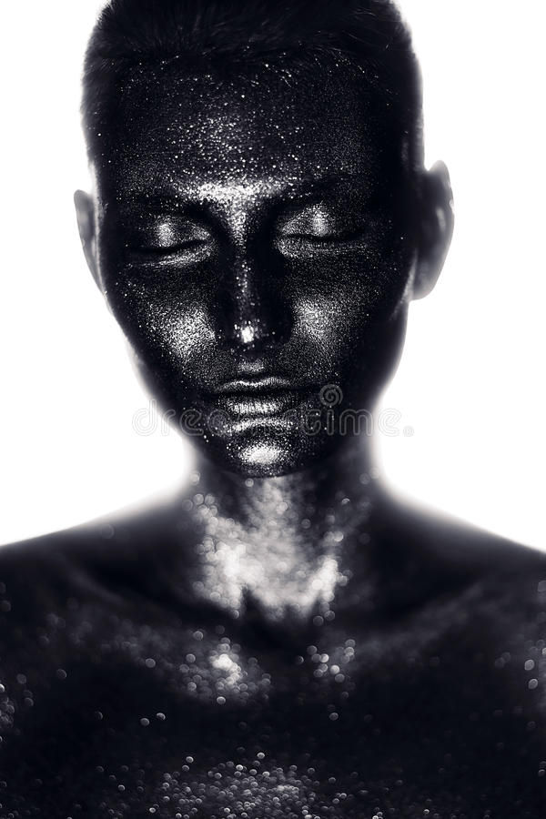 Free Woman In Black Paint In White Light Royalty Free Stock Photos - 48094168