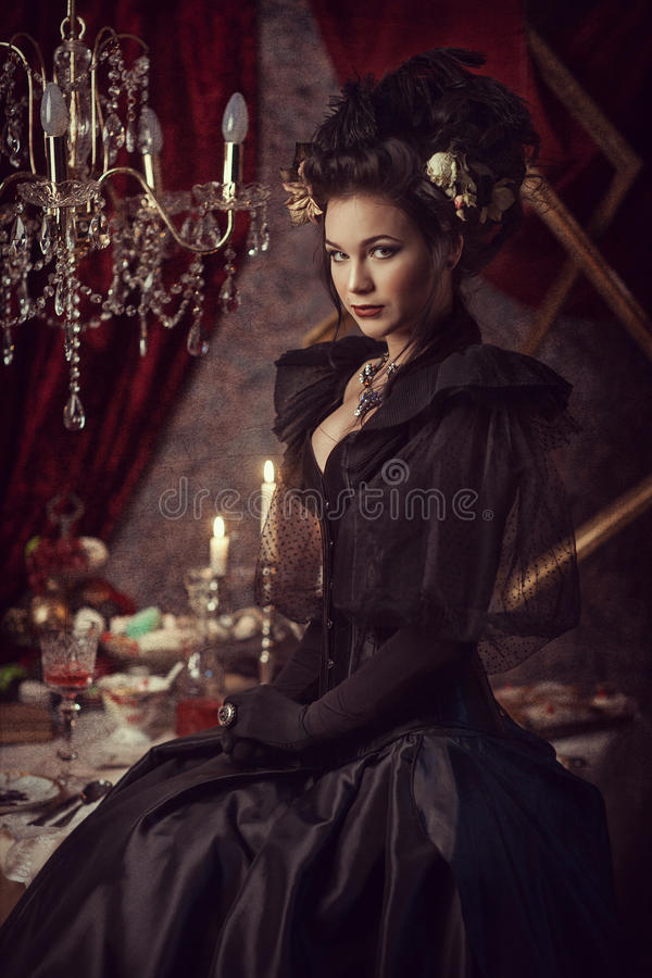 Free Woman In Black Rococo Dress Royalty Free Stock Photos - 90170958