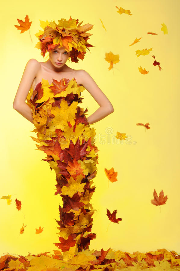 Free Woman In Dress Of Leaves And Defoliation Stock Photography - 21537162