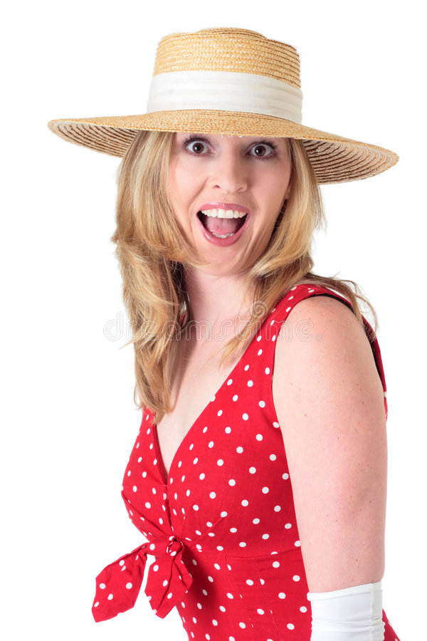 Free Woman In Fifties Fashion With Surprised Expression Royalty Free Stock Image - 479886