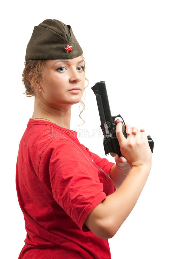 Free Woman In Garrison Cap With Gun Stock Images - 12470814