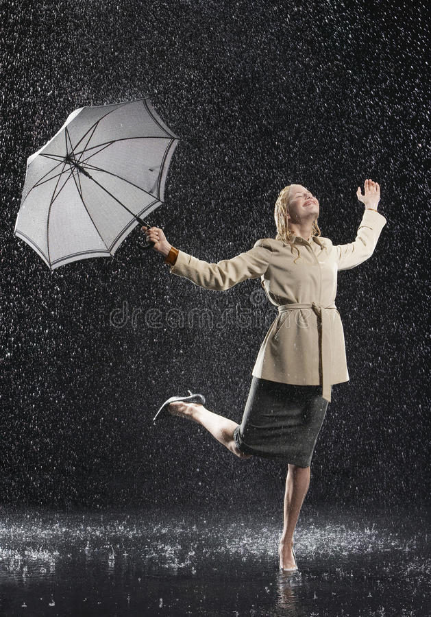 Free Woman In Overcoat With Umbrella Enjoying The Rain Royalty Free Stock Images - 31840779