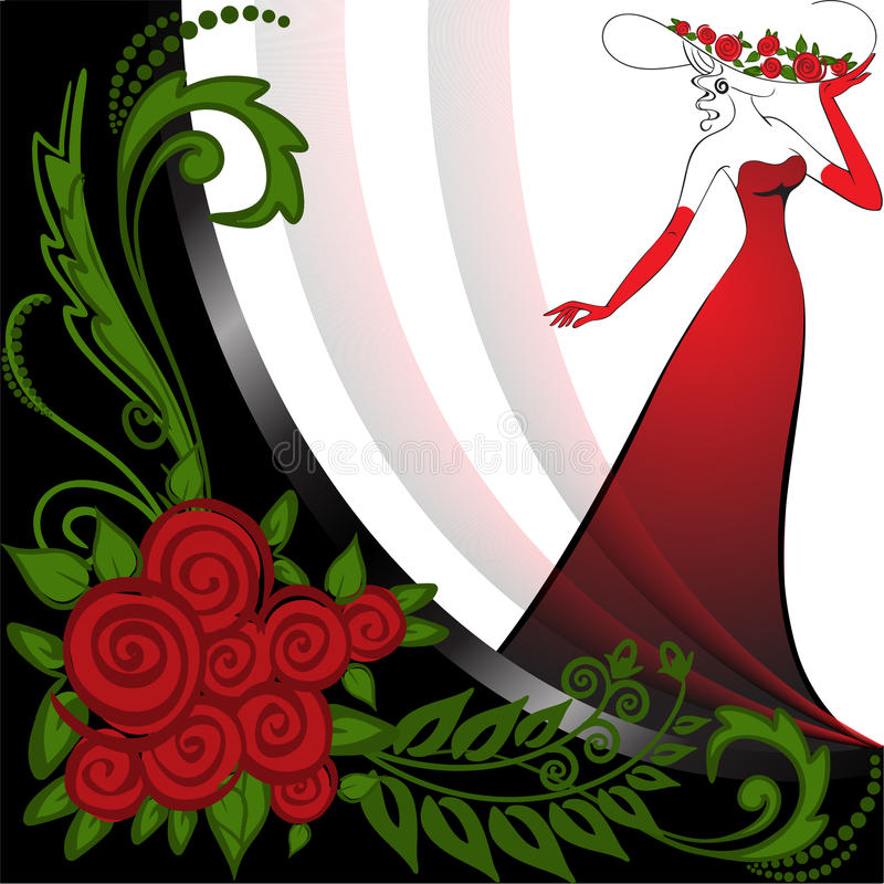 Free Woman In Red And Roses Stock Photos - 20106103