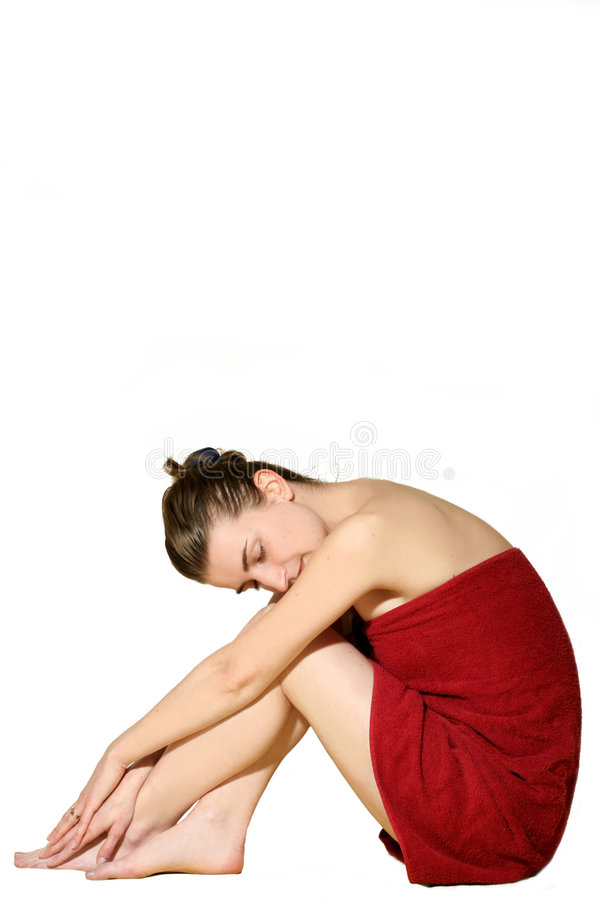 Free Woman In Red Bath Towel Royalty Free Stock Images - 4562139