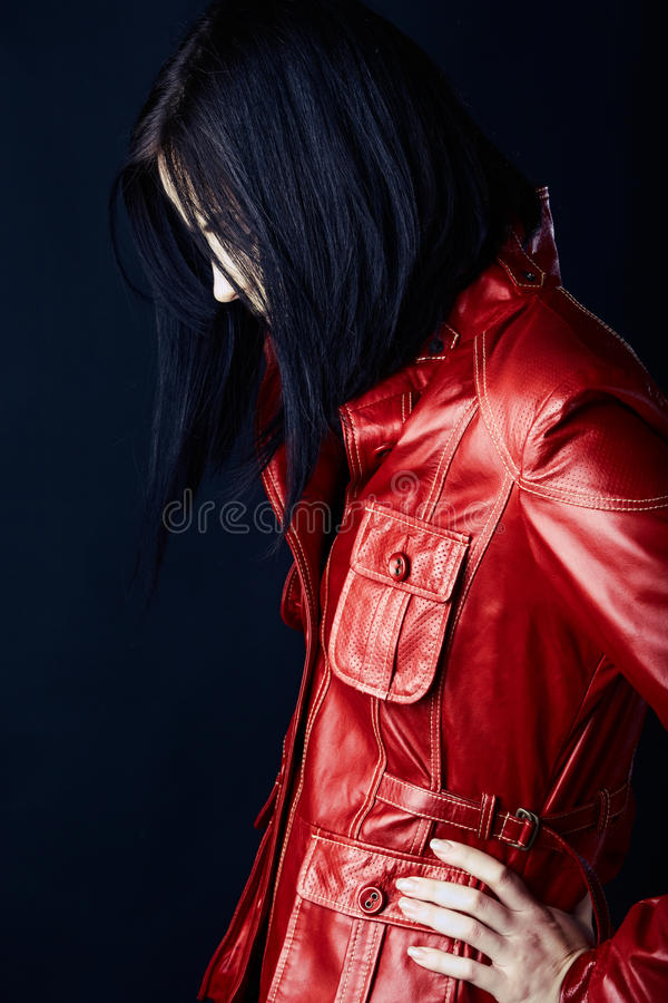 Free Woman In Red Leather Jacket Royalty Free Stock Photography - 16975387
