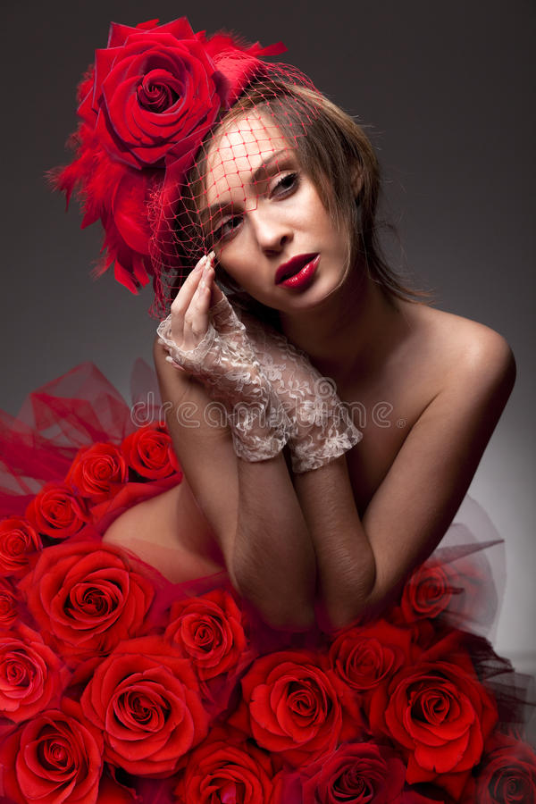 Free Woman In Red Rose Royalty Free Stock Photos - 18329388