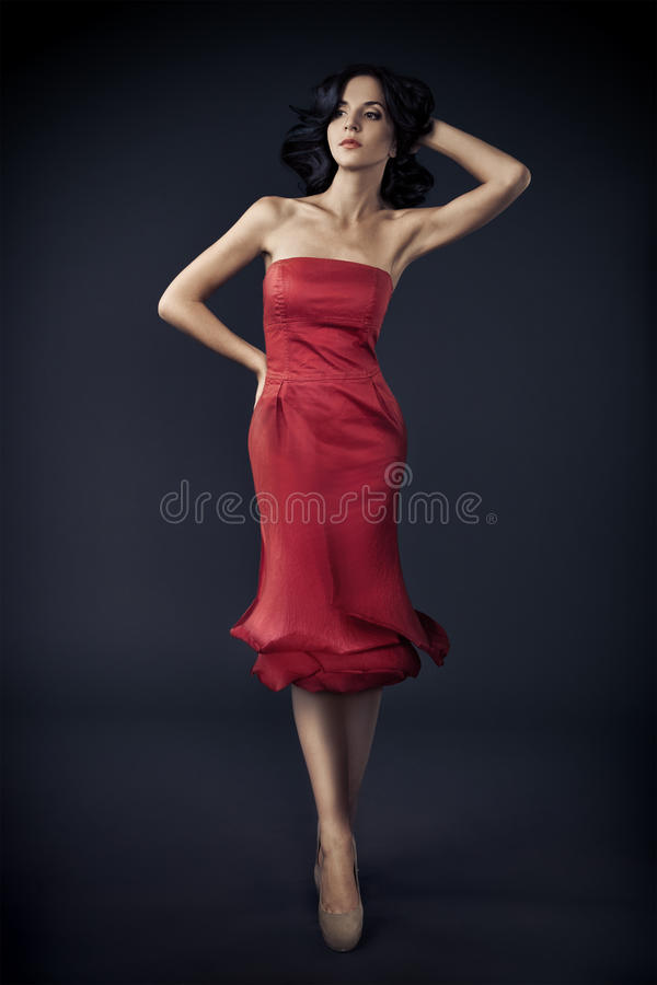 Free Woman In Red Rose Dress On Dark Royalty Free Stock Photo - 27998605