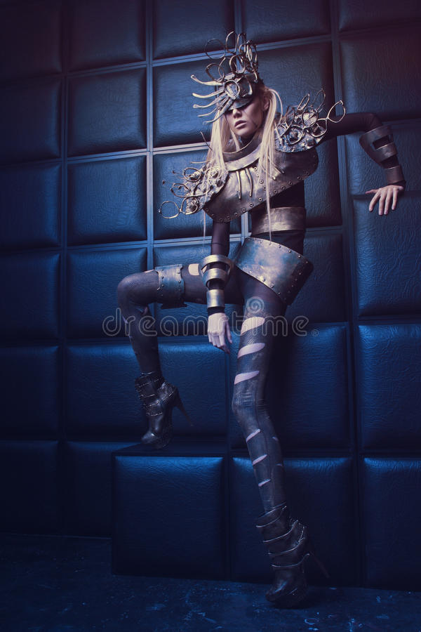 Free Woman In Steel Costume And Head Wear Stock Photography - 56851122