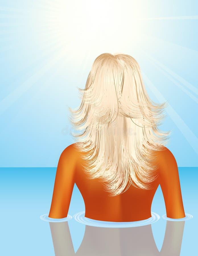Free Woman In The Sea Stock Image - 10665471