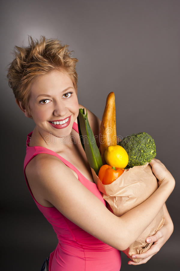 Free Woman In The Studio. Healthy Meal. Vegetarian Royalty Free Stock Photos - 27335318