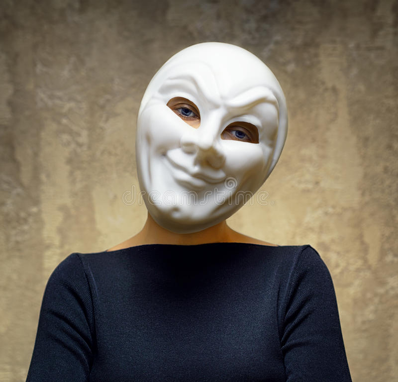 Free Woman In White Mask. Horror Concept Royalty Free Stock Images - 35864929