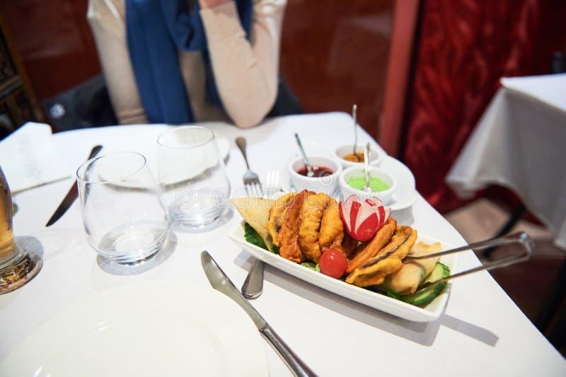 Woman indian restaurant royalty free stock photos
