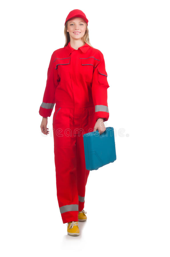 Woman in industrial concept isolated. On white stock image
