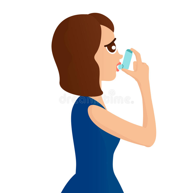 Woman with inhaler. Woman using a spray inhaler to stop asthma attack. Asthma design template Bronchial asthma awareness concept. Vector illustration. rr royalty free illustration