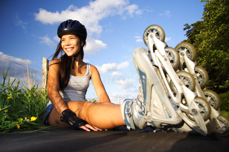 Woman on inline skates stock photos