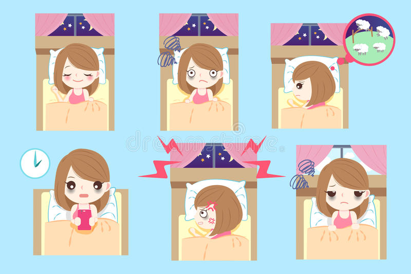Woman with insomnia. Cute cartoon woman with insomnia on the blue background royalty free illustration