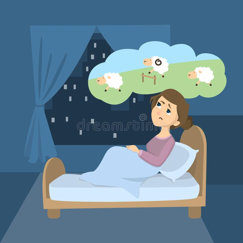 Woman with insomnia. Trying to count sheep in the room royalty free illustration