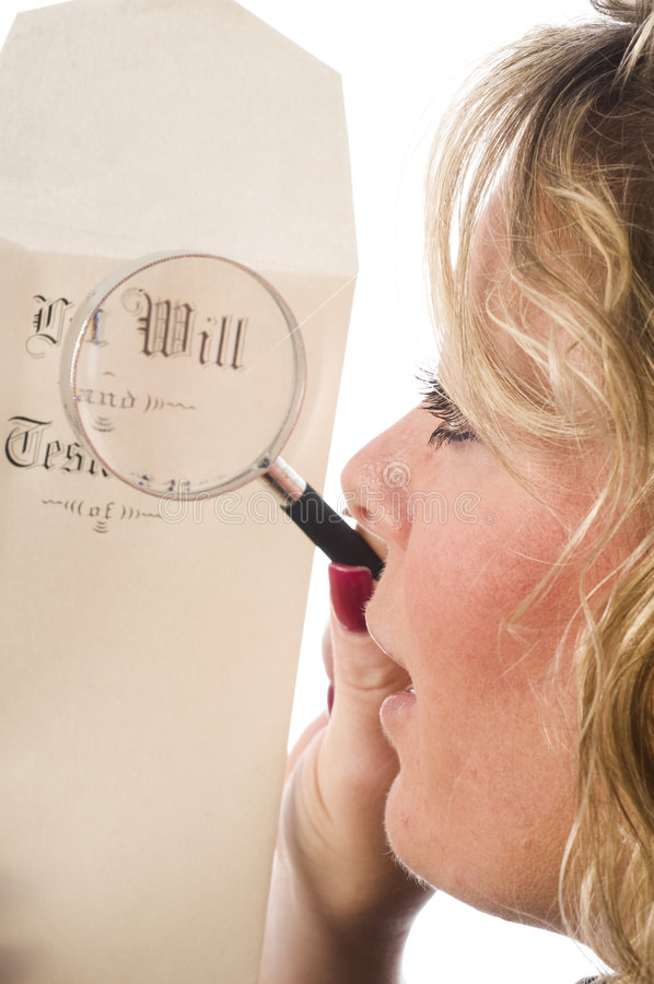 Download Woman Inspecting Last Will And Testament Stock Photo - Image of background, glass: 9307678