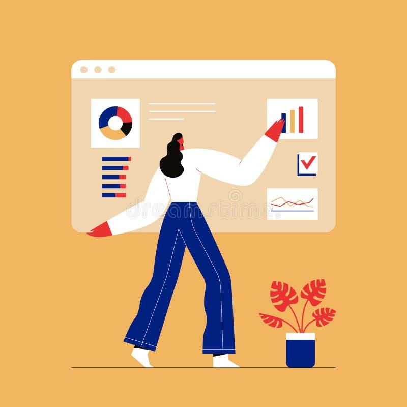 Woman interacting with charts and analysing statistics. Customer tracking software, data visualisation. Flat vector illustration. Woman interacting with charts stock illustration