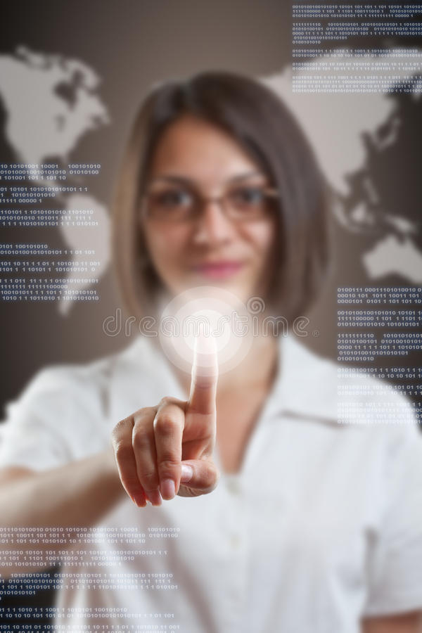 Download Woman with interface stock photo. Image of digital, finger - 24611374