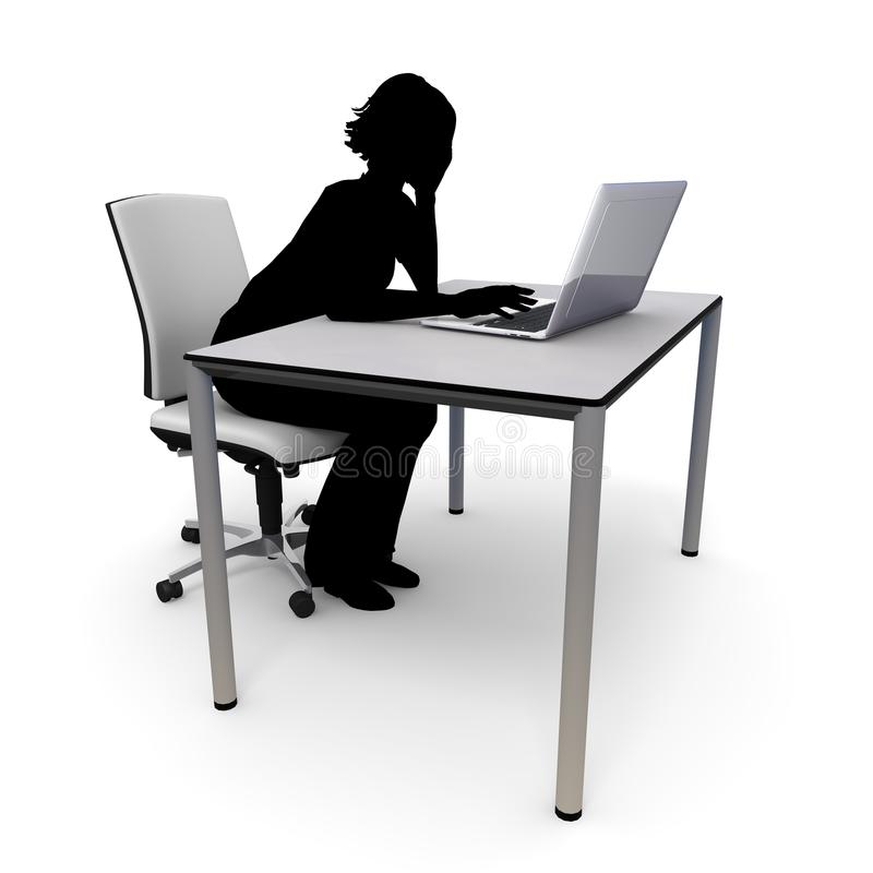 Woman / Internet / laptop / 3D rendering. Data is stolen by attack on the server. The computer is destroyed. A cyber attack that is difficult to recover. Many stock illustration