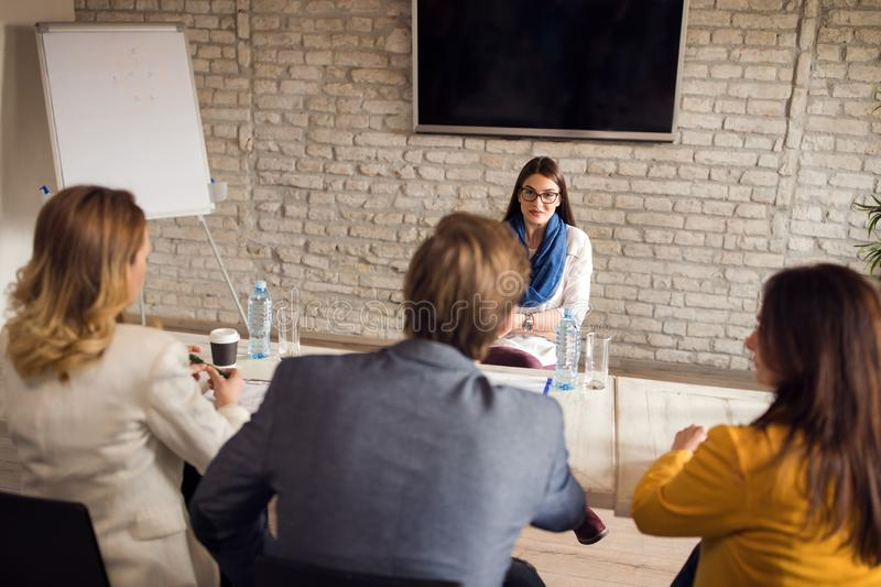 Woman on interview for job royalty free stock images