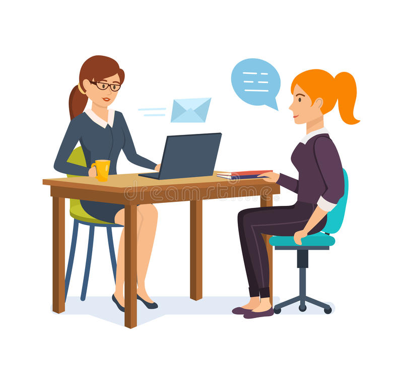 Woman interviews an employer with potential employee, communicates, exchanges information. Woman HR interviews an employer with a potential employee royalty free illustration